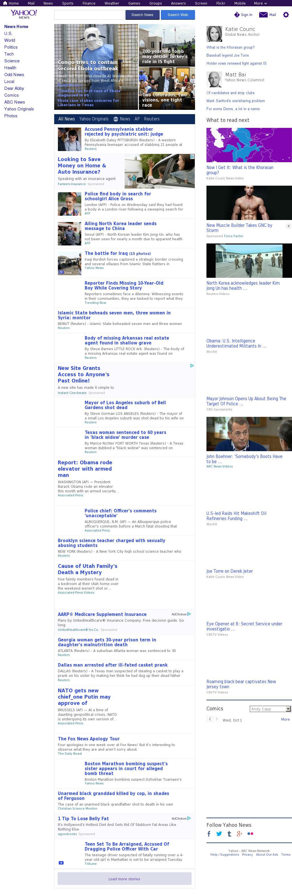 Yahoo! News at Wednesday Oct. 1, 2014, 1:20 p.m. UTC